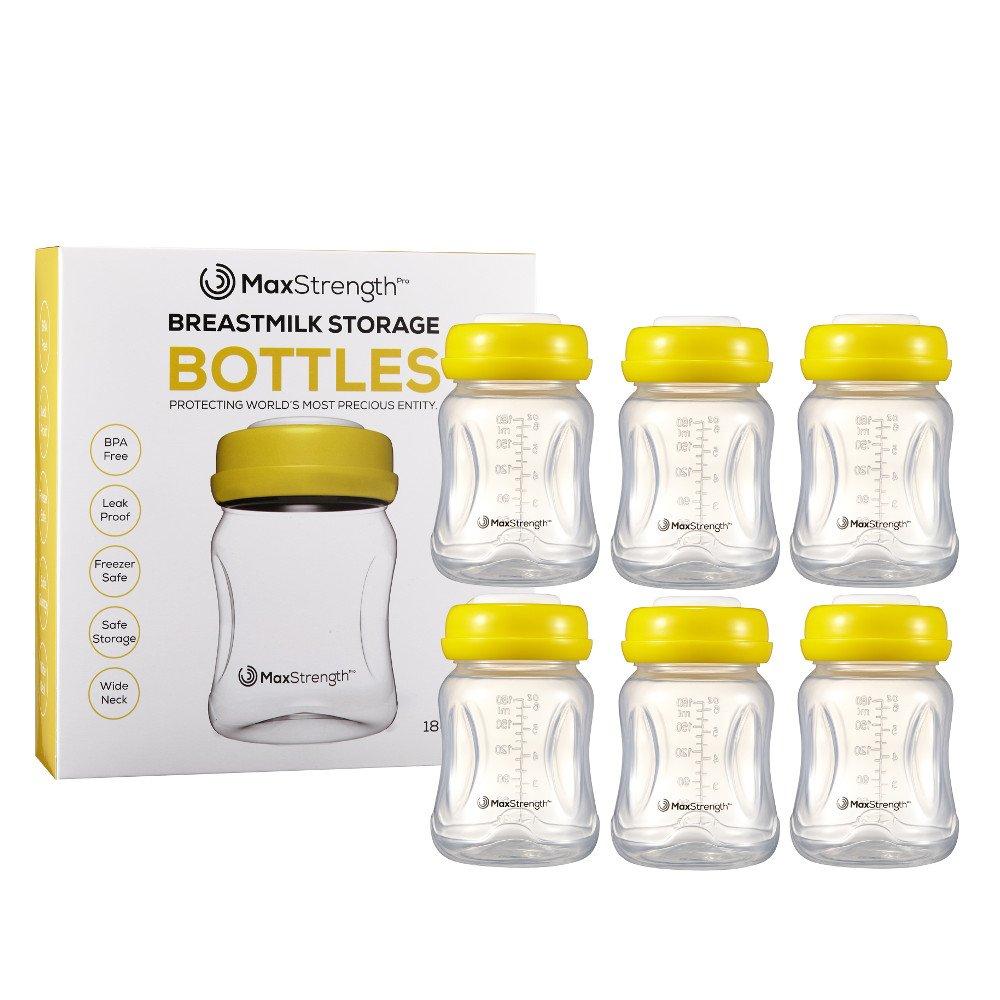 Bottiglie di latte materno 6PC set con coperchi ermetici da max Strength Pro, 170,1 gram 180 ml riutilizzabile biberon a collo largo migliore per latte materno Collection & Storage Solution, senza BPA, freezer e lavastoviglie
