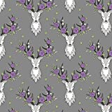 Deer Fabric - Deer Head on Dark Grey Purple Flowers Smaller by caja_design - Deer Fabric with Spoonflower - Printed on Cotton Spandex Jersey Fabric by the Yard