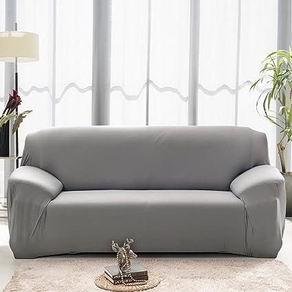 Funda elástica para sofá de 2 plazas, cubierta antideslizante en tejido elástico extensible, protector del sofá, color gris.