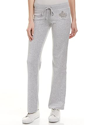 dfc36e38ea93 Juicy Couture Women s Track Velour Juicy Highness Del Rey Pants Silver  Lining Petite X-
