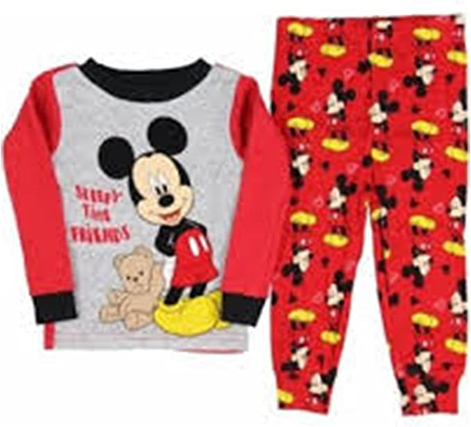 Baby Boys Girls Kids Official Disney Character Pyjamas Mickey Mouse Red New Pj