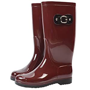 Women's Anti-slip Rubber High Rain Boots Waterproof Buckle Martin Rain Shoes Wine Red US 9