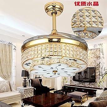 Ventilador de techo invisible, lujoso restaurante crystal, banda lámpara, ventilador de techo, ventiladores eléctricos, lámpara, salón de estilo europeo candelabro decorativo fan,control remoto: Amazon.es: Iluminación