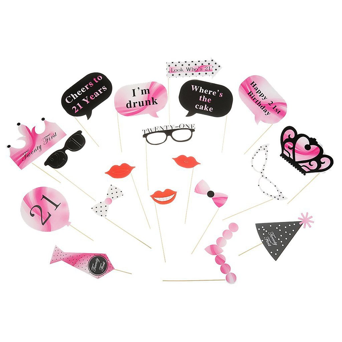 BESTOYARD Photo Booth Props 21st Birthday Photo Booth Props Party Glasses Lips Crown Tie 21pcs