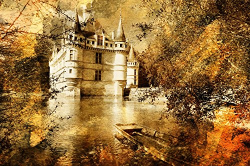 Castle Artwork Painting Style Wall Mural by Wallmonkeys Peel and Stick Graphic (30 in W x 20 in H) WM261776 (Castle Canvas Mural)