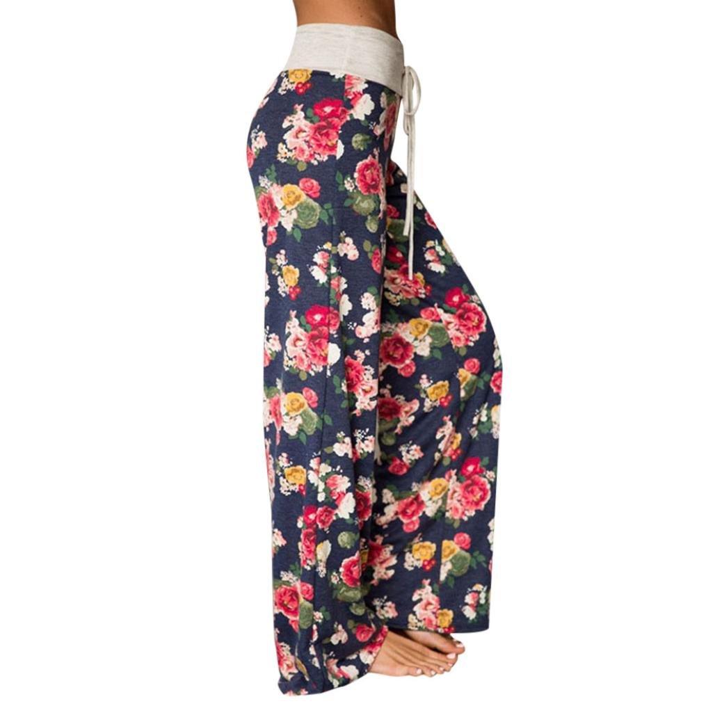 GoodLock Women Loose Wide Leg Pants Large Size Women Print Trousers Ladies Summer Loose Wide Leg Pants