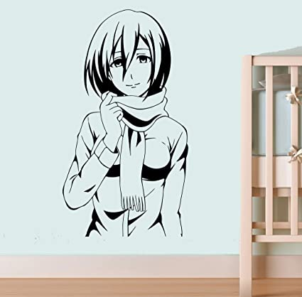 Attack On Titan Wall Vinyl Decal Cartoon Anime Wall Art Mikasa