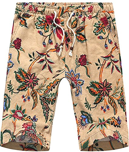 Hawaiian Linen (HENGAO Men's Hawaiian Floral Print Linen Draw-String Lounge Swim Trunk Shorts, Khaki Floral, US 40 = Tag 6XL)