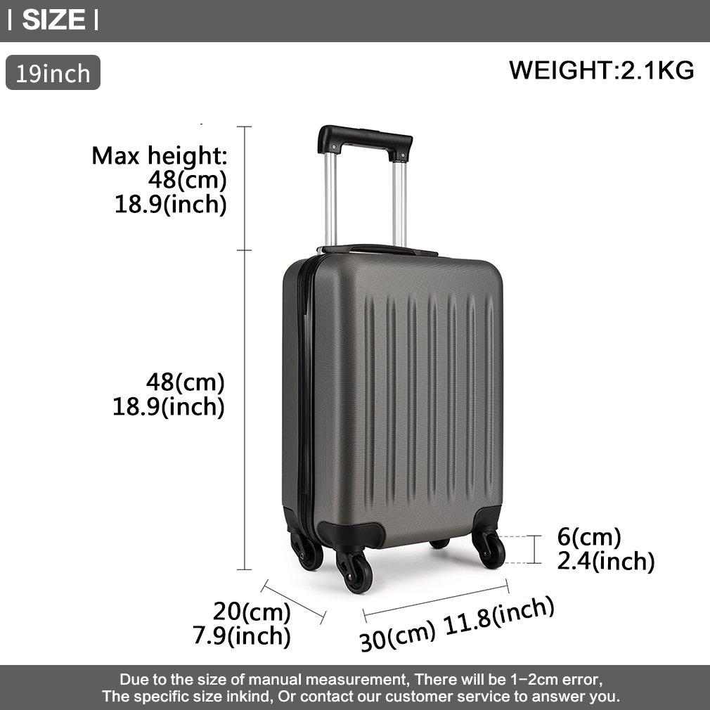 Kono Valise de Voyage Rigide ABS Cabine /à Main 4 roulettes 48x 30x20 cm Gris