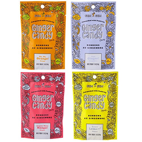 Gem Gem Ginger Candy Chewy Ginger Chews (Assorted Mix, 1.25oz, Pack of 4)