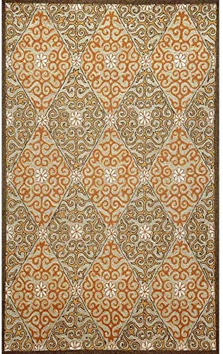 Liora Manne Ravella Lakai Diamond Rug, Indoor Outdoor, 7-Feet 6-Inch by 9-Feet 6-Inch, Coral