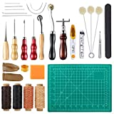 Caydo 27 Pieces Leather Tools Leather Sewing Tools Kit including Basic Hand Stitching Sewing Tools, Groover Awl Waxed Thimble Thread for Leather Craft Projects
