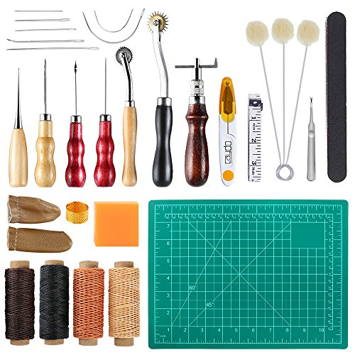 Caydo 27 Pieces Leather Tools Leather Sewing Tools Kit including Basic Hand Stitching Sewing Tools, Groover Awl Waxed Thimble Thread for Leather Craft Projects by Caydo