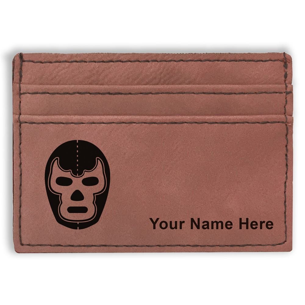 Money Clip Wallet, Luchador Mask, Personalized Engraving Included (Dark Brown) by SkunkWerkz
