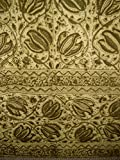 Veggie Dye Block Print Curtain Drape Panel Cotton 46″ x 84″ Olive Green For Sale