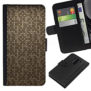 LG G3 D855 D850 D851 , la tarjeta de Crédito Slots PU Funda de cuero Monedero caso cubierta de piel ( Wallpaper Spots Dots Brown Random Pattern)