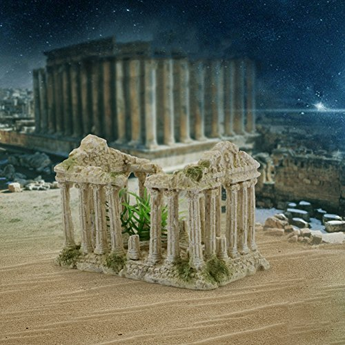 (Castle Cave Resin Roman Column Aquarium Decoration Ornaments Hand Painted Rock Mountain Garden Decorations Fish Tank Rock Ruins Plants Decor Roman One)