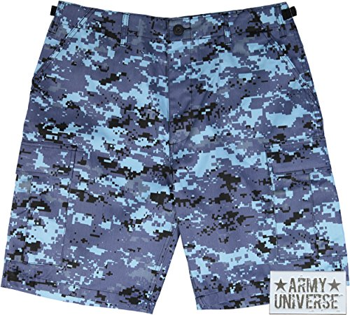 Army Universe Sky Blue Digital Camouflage Military BDU Cargo Shorts Pin  Size XX-Large (Waist 43-47