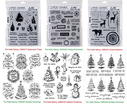 Tim Holtz Cling Stamps Christmas BUNDLE: Scribbly Christmas, Doodle Greetings, Watercolor Trees, Tattered Christmas, Great Outdoors, Holiday Postmarks (CMS249+CMS287+CMS317+CMS318+CMS321+CMS323) by Tim Holtz