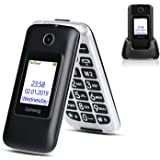 Ushining 3G Unlocked Flip Cell Phone for Senior & Kids,Easy-to-Use Big Button Cell Phone with Charging Dock,A&T or T-Mobile C