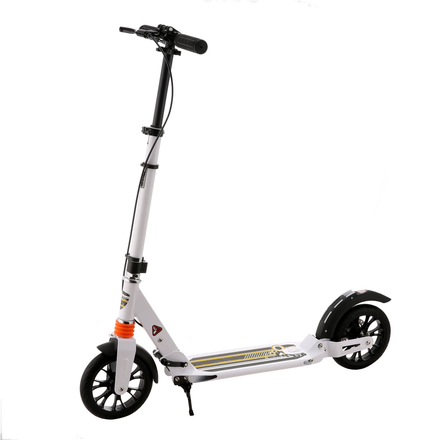 Foldable Kick Scooter with Dual Suspension, 2 Rubber Wheels, Adjustable T Handlebar, Anti-Rust Paint Foot Rear Brakes for Adult, Teens and Kids