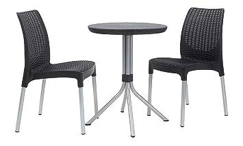 Keter Jersey - Table et chaises de Jardin en rotin, 4 Places Set 2 ...