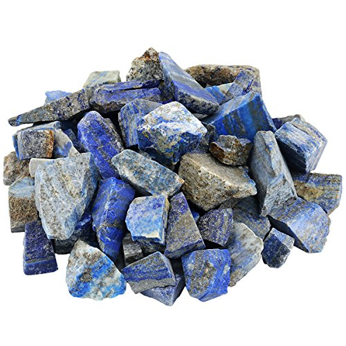 mookaitedecor 1 lb Bulk Natural Lapis Lazuli Raw Stones Rough Crystals for Healing,Tumbling,Cabbing,Polishing,Wire Wrapping,Wicca & Reiki