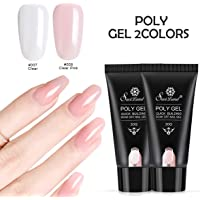 2pcs Poly Gel Nail Art Kit, Saviland UV Nail Builder Gel Finger Extension Gel Set 30ml(Clear and Clear pink)