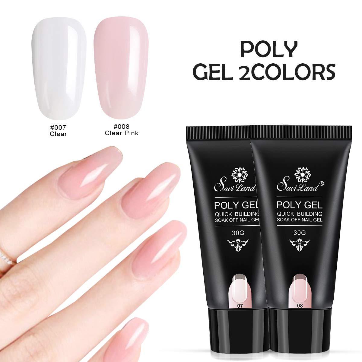 2pcs Poly Gel Nail Art Kit, Saviland UV Nail Builder Gel Finger Extension Gel Set 30ml(Clear and Clear pink) by Saviland