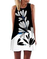 Start Women Summer Sleeveless Floral Printed Short Mini One-piece Beach Dress