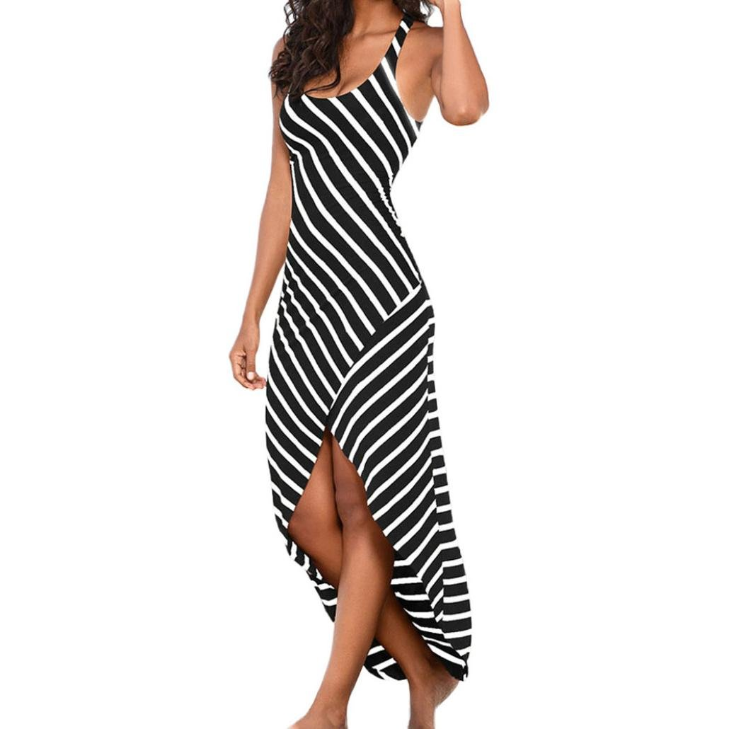 Danhjin Women Vintage Slim Bodycon Tunic Top Casual Sundress Sexy Sleeveless Stripes Loose Long Beach Dress (XL)