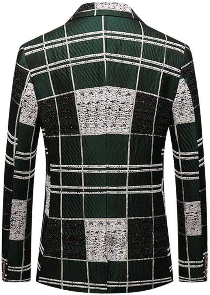 Stoota Men's Vintage Slim Fit Stylish Blazer Dress Suit, Dress Floral Suit Notched Lapel Collar Coat Green
