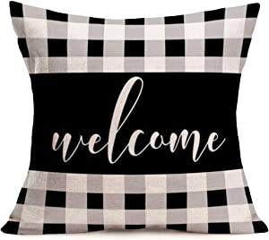 Aremetop Throw Pillow Covers Black Grey Buffalo Check Plaids Background Welcome Quote Home Decor Pillowcases Cotton Linen Farmhouse Decorative Throw Pillow Case Cushion Cover for Sofa Couch 18''x18''