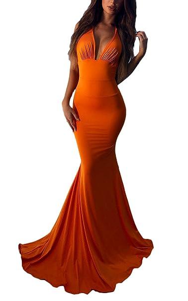 Vestido Playa Mujer Elegante Vestido Verano Vestidos De Noche Largos Vestido Ajustado Sin Mangas Tiefem Halter V Cuello Espalda Descubierta Fashion Vestidos ...