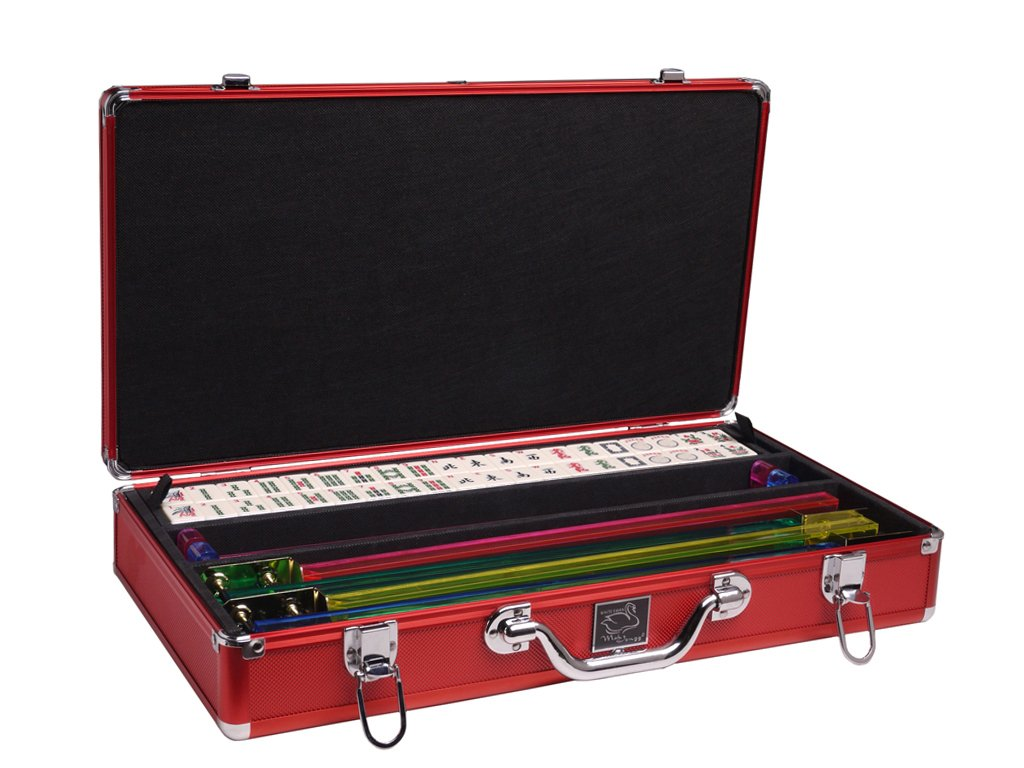 White Swan Mah Jongg Set - Ivory Tiles - Classic Pusher Arms - Aluminum Case - Red