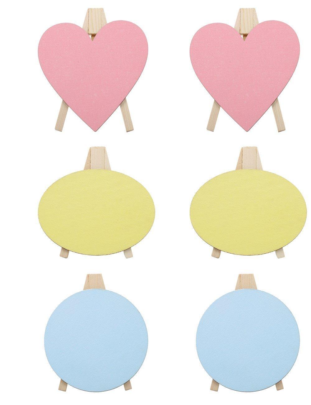 Meeden 6pezzi colori mini pannelli di tela con cavalletto in legno per bambini pittura parti Craft disegno decorazione Xmas Gift