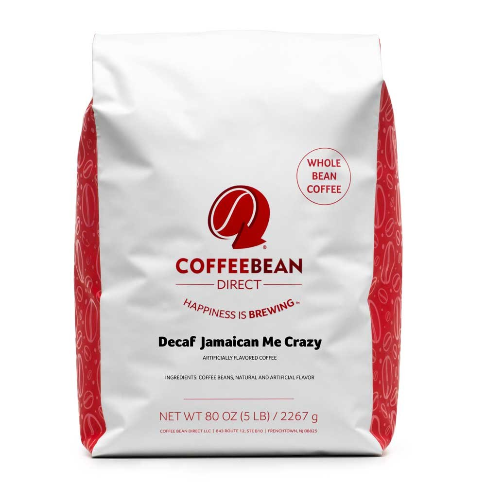 Coffee Bean Direct Decaf Jamaican Me Crazy Flavored, Whole Bean Coffee, 5-Pound Bag