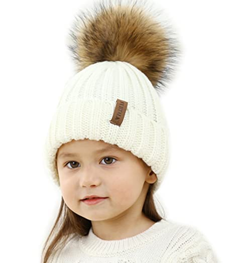70c7b384f25 Kids Winter Knitted Pom Beanie Bobble Hat Faux Fur Ball Pom Pom Cap Unisex  Kids Beanie