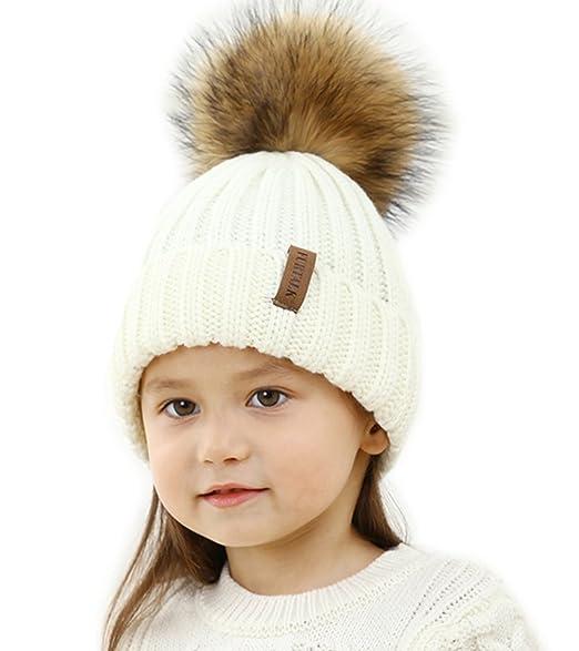 2b605a0270d424 Kids Winter Knitted Pom Beanie Bobble Hat Faux Fur Ball Pom Pom Cap Unisex Kids  Beanie