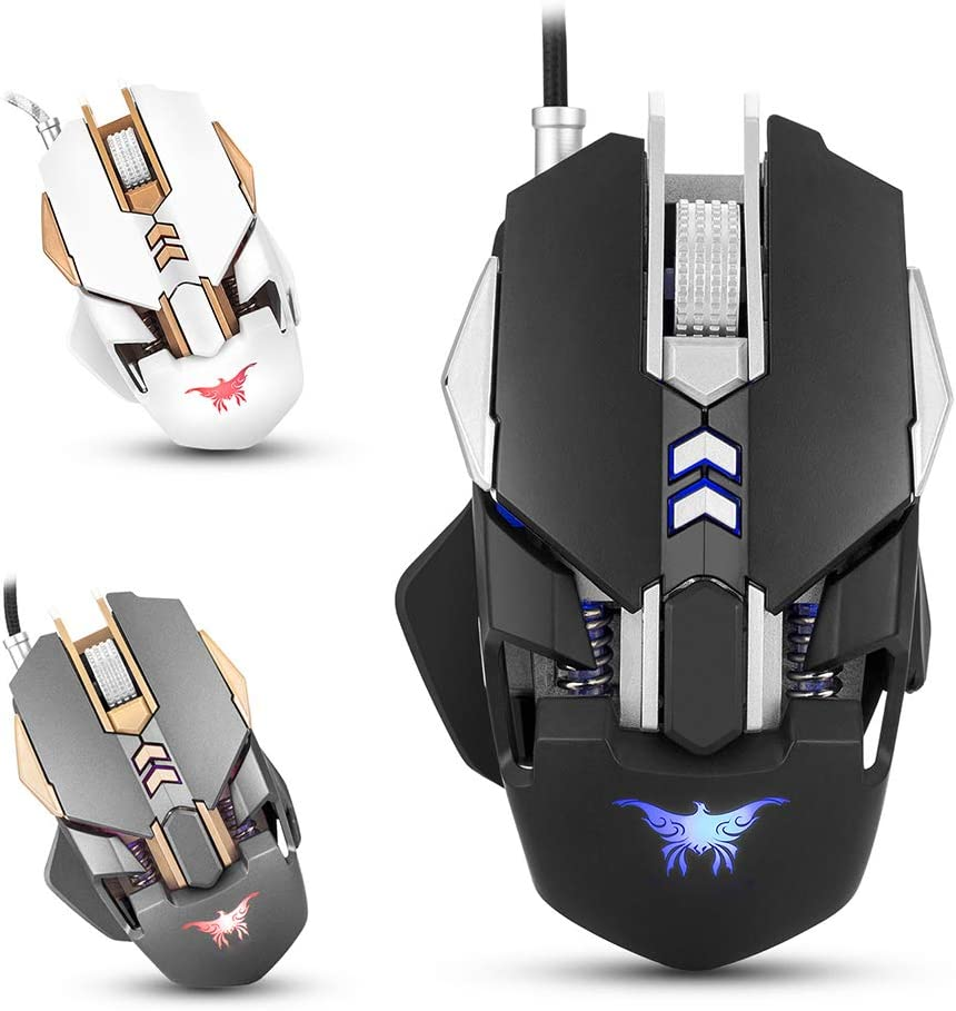FAgdsyigao 3200DPI 7 Buttons LED Mouse Optical USB Wired Pro Gaming Mice for PC Laptop Desk Decor White