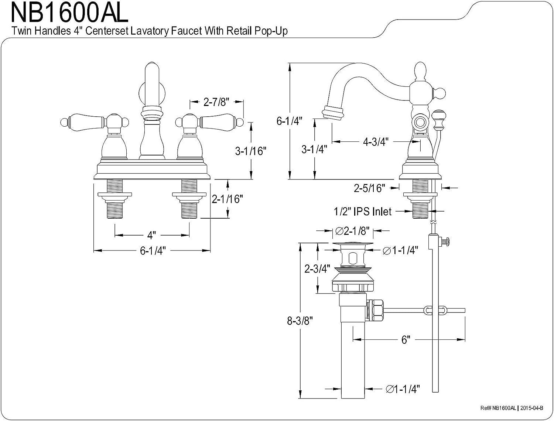 KINGSTON Brass NB1600AL Water Onyx 4 Centerset Lavatory Faucet with ABS//Brass Pop up Drain Black Nickel