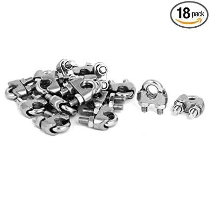 8Pcs Stainless Steel Wire Rope Clamp M5 U-Shaped Bolts Fitting Cable Clip