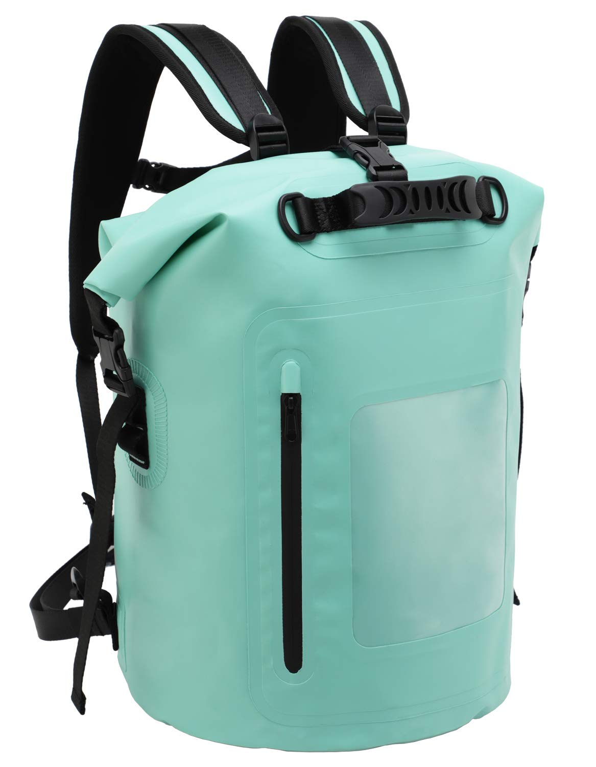 MIER Large Waterproof Backpack Roll Top Dry Bag for Kayaking, Boating, Rafting, Surfing, Swimming, Easy Access Front Zippered Pocket, Padded Back Support and Cushioned Adjustable Straps, 30L, Turquois by MIER