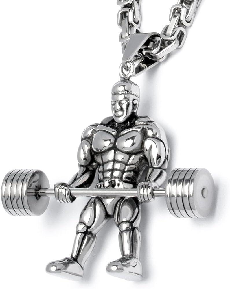 Schmuck-Checker Edelstahl Herren Anh/änger Hantel Gewicht Kraftsport Bodybuilder Gewichtheber Fitnessstudio K/önigskette Geschenk