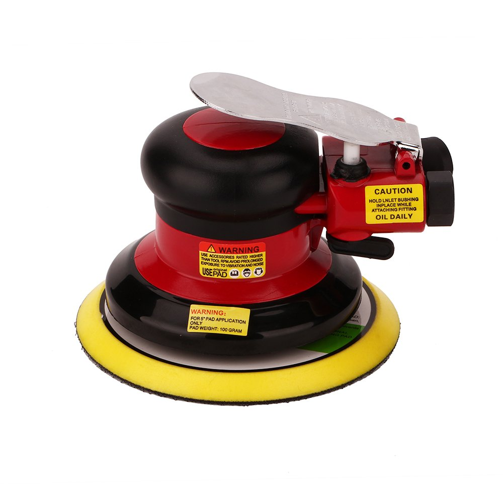 Professional Air Random Orbital Palm Sander, 125mm Dual Action Pneumatic Sander, Low Vibration, Heavy Duty (Red) SHININGEYES