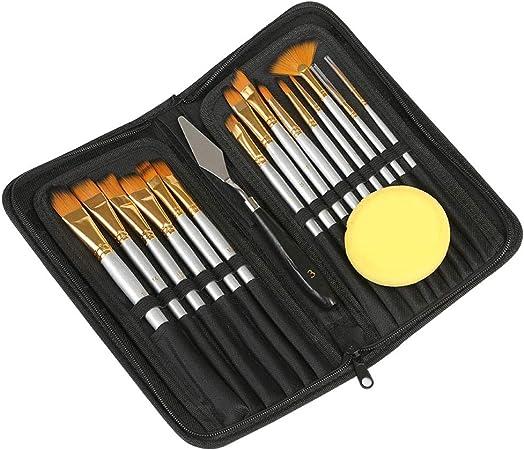Kesote - Juego de 15 pinceles de pinceles con estuche y esponja negras, perfectos para pintura acrílica al óleo y acuarela: Amazon.es: Hogar