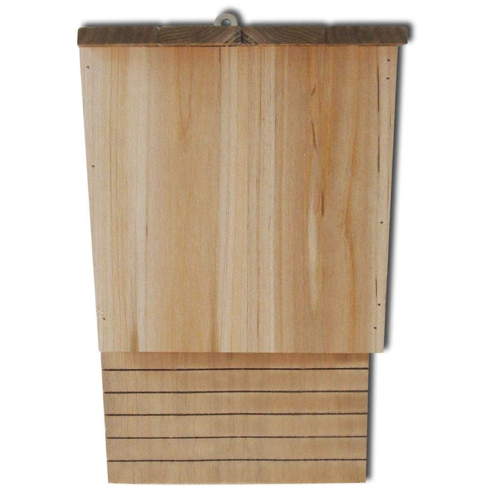Wuyue and buding Outdoor Patio Bat House Bat Box with Shelter Solid Wood Set of 2 Long Landing Pad 8.7'' X 4.7'' X 1' 1''