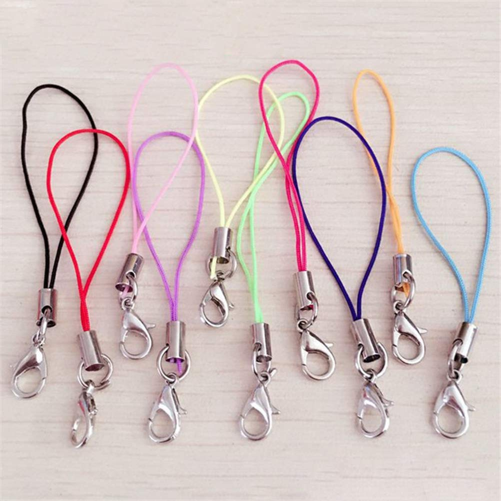 UKCOCO 100Pcs Cell Phone Charm Straps Lobster Clasp Lariat Cord Mobile Phone Lanyards Key Chain DIY Accessories Assorted Colors