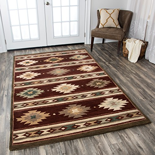 Rizzy Home Collection Wool Area Rug, 5 x 8 , Burgundy Tan Khaki Sage Dark Teal Southwest Tribal