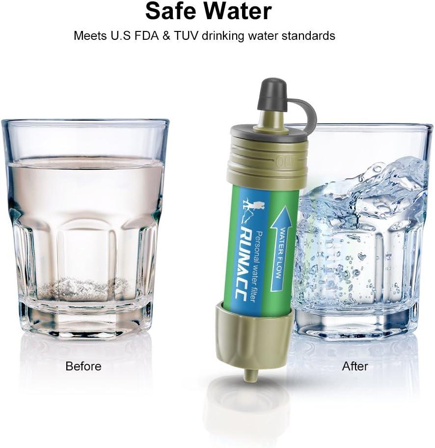 RUNACC - Filtro de Agua con Bomba de Bola para Beber rápidamente y Voltear, diseño Integrado, Mini purificador de Agua con Alta Capacidad, preparación de Emergencia: Amazon.es: Deportes y aire libre